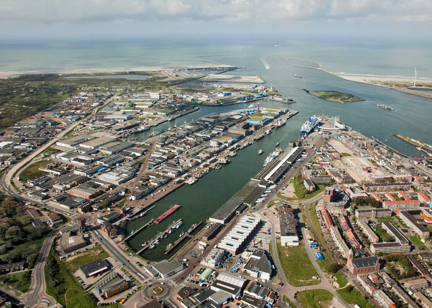 Aerial view of the port of Amsterdam